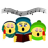 Emoji three carolers singing