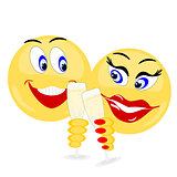 Emoji couple holding champagne glasses
