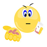 Emoji holding prescription bottle and pills
