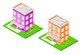 Isometric Hotel Colorful Set