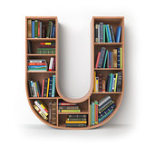 Letter U. Alphabet in the form of shelves with books isolated on