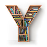 Letter Y. Alphabet in the form of shelves with books isolated on