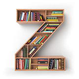 Letter Z. Alphabet in the form of shelves with books isolated on