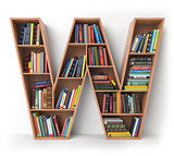 Letter W. Alphabet in the form of shelves with books isolated on