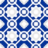 Tile indigo blue decorative floor tiles vector  pattern