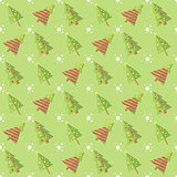 Green Seamless Christmas Tree Pattern