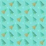 Mint Blue Seamless Christmas Tree Pattern