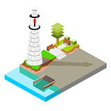 Isometric Lighthouse with boat ramp
