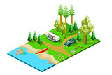 Isometric Camper and SUV in woods