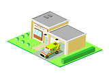 Isometric EMS Station Building