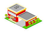 Isometric Fire Station Building