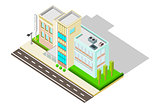 Isometric Hospital Building with landscape