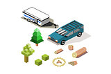 Isometric tow tent camper with suv and icons