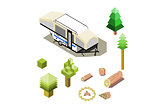 Isometric camper tow tent trailer with forest icons