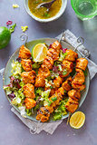 Chicken skewers with lime and mint
