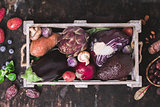 Assortment raw organic of purple ingredients