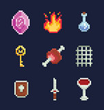 Vector pixel art illustration isons for fantasy adventure game development, gem, fire, potion, key, meat, gate, shield, sword, bowl