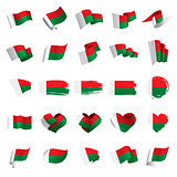 Madagascar flag, vector illustration