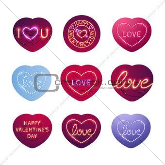 Glowing Neon Valentine Signs Sticker Pack