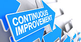 Continuous Improvement - Message on the Blue Pointer. 3D.