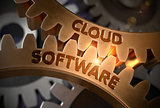 Cloud Software on the Golden Gears. 3D Illustration.