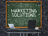 Marketing Solutions on Chalkboard with Doodle Icons. 3d.