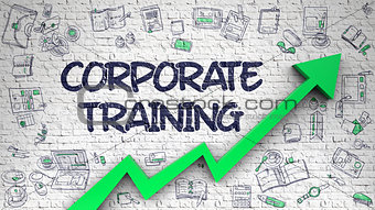 Corporate Training Drawn on White Wall.