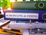 Blue Ring Binder with Inscription Scheduling and Timing. 3d.