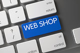 Blue Web Shop Key on Keyboard. 3D.