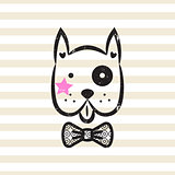 Cute gentleman dog tshirt design vector.