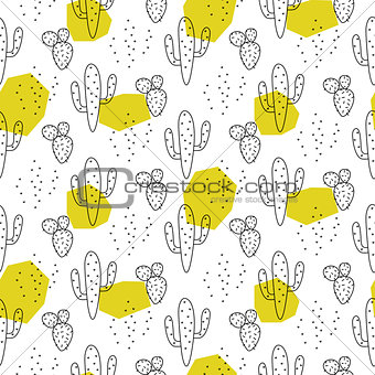 Cactus simple line green spots coloring style vector pattern.