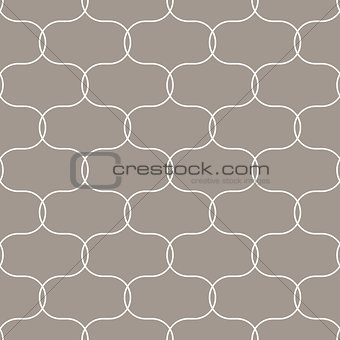 Quatrefoil oval taupe seamless vector pattern.