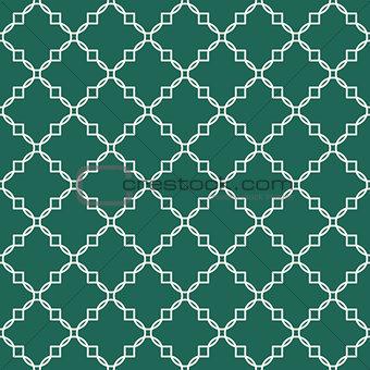 Quatrefoil green seamless vector pattern.