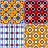 Blue and yellow spanish seamless ceramic tile pattern.