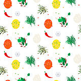 Hot spices vector seamless pattern.