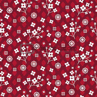 Tiny red color floral seamless simple vector pattern.