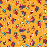Paisley yellow indian seamless vector pattern.
