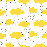 Light yellow snowy clouds seamless vector pattern.