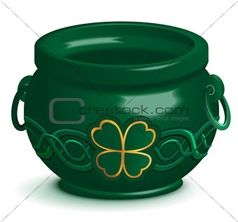 Green empty pot with leaf clover ornament. St. Patricks Day symbol