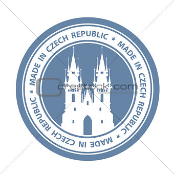 Czech travel stamp with Prague symbol - Church of Our Lady befor