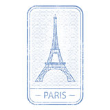 Stamp with symbol of Paris - Eiffel Tower, France travel