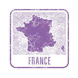 France travel stamp with silhouette of map of France