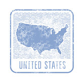 USA travel stamp with silhouette of map of United States of America