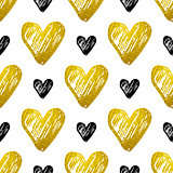 Pattern with golden and black hearts