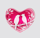 Paper pink heart and two birds