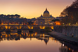 Rome Vatican St.peter basilica after sunset view of river Tiber and Saint Angelo bridge