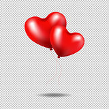 Red Balloons Heart Isolated Transparent background