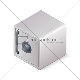 Closed safe box isolated on white background. Isometric vector illustration