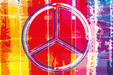 Abstract watercolor artwork with peace sign