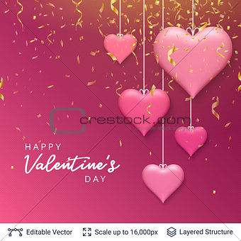 Pink 3D hearts and greeting text.